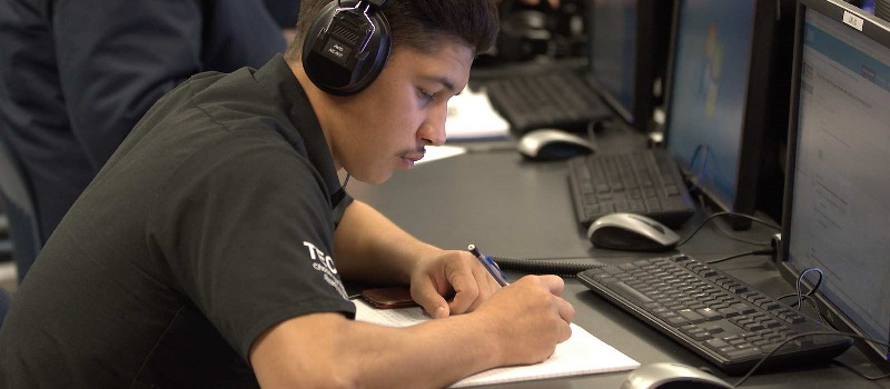 A student studies in a UTI computer lab