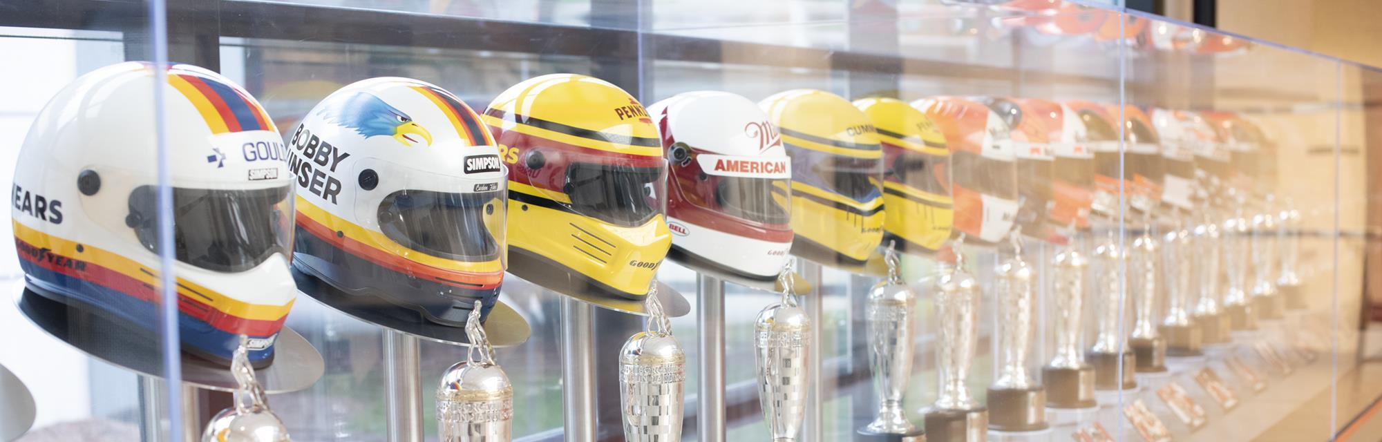 NASCAR helmet trophies on display