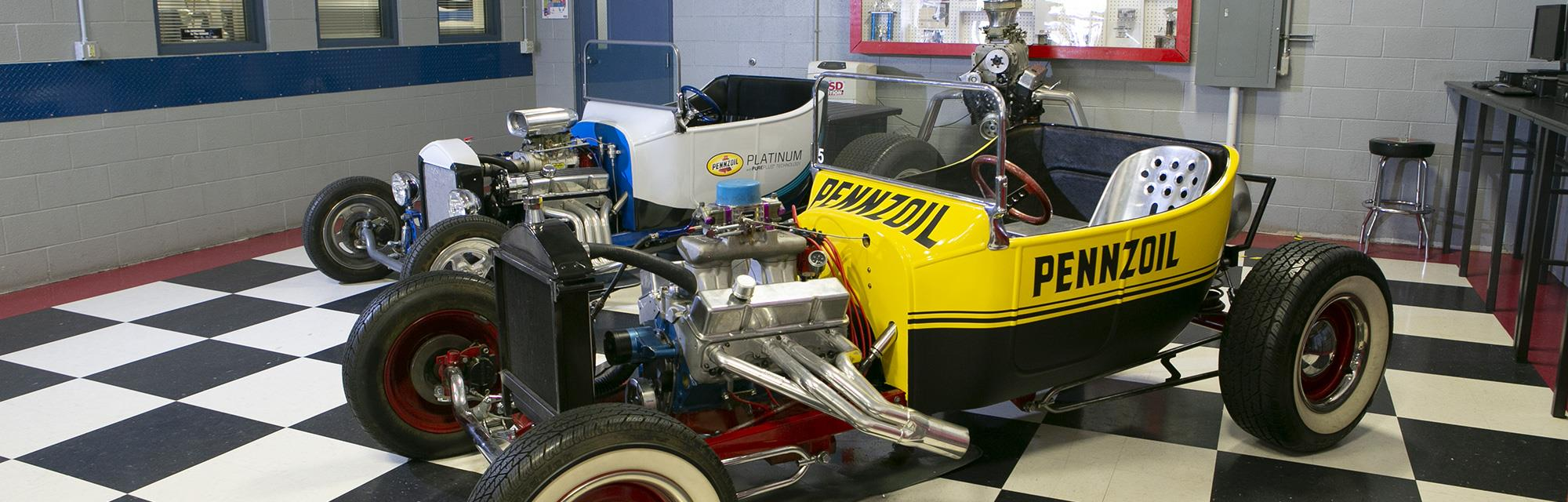 Shell Pennzoil branded bucket racer in the lobby of Universal Technical Institute
