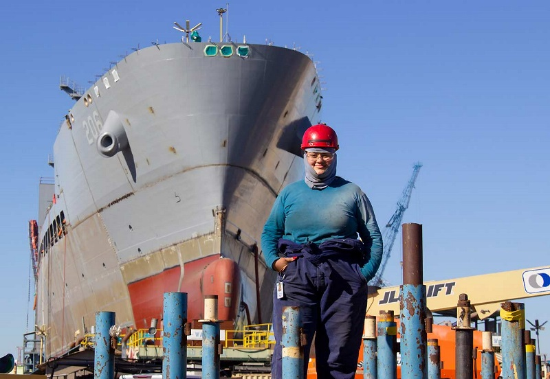 For UTI grad Stephanie Morales, welding fused a love of craft with a love of country to create a rewarding career building Navy ships.