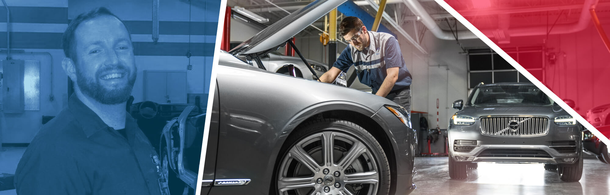 An image of UTI Automotive Instructor Sean Callahan along with an image of a student working on a Volvo