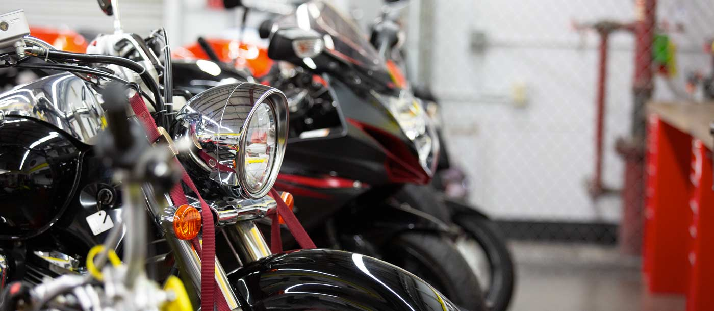 An image of motorcycles in a lab at Motorcycle Mechanics Institute in Orlando, Florida
