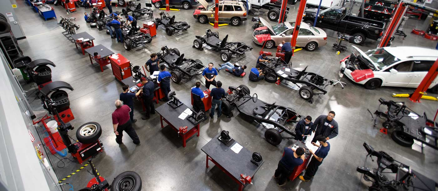 A shot of an automotive lab from UTI Long Beach in California