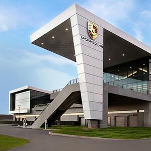 front shot of the Atlanta Porsche dealership