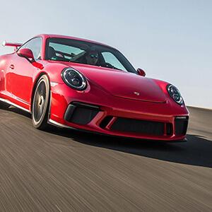 action shot of a Porsche in Easton
