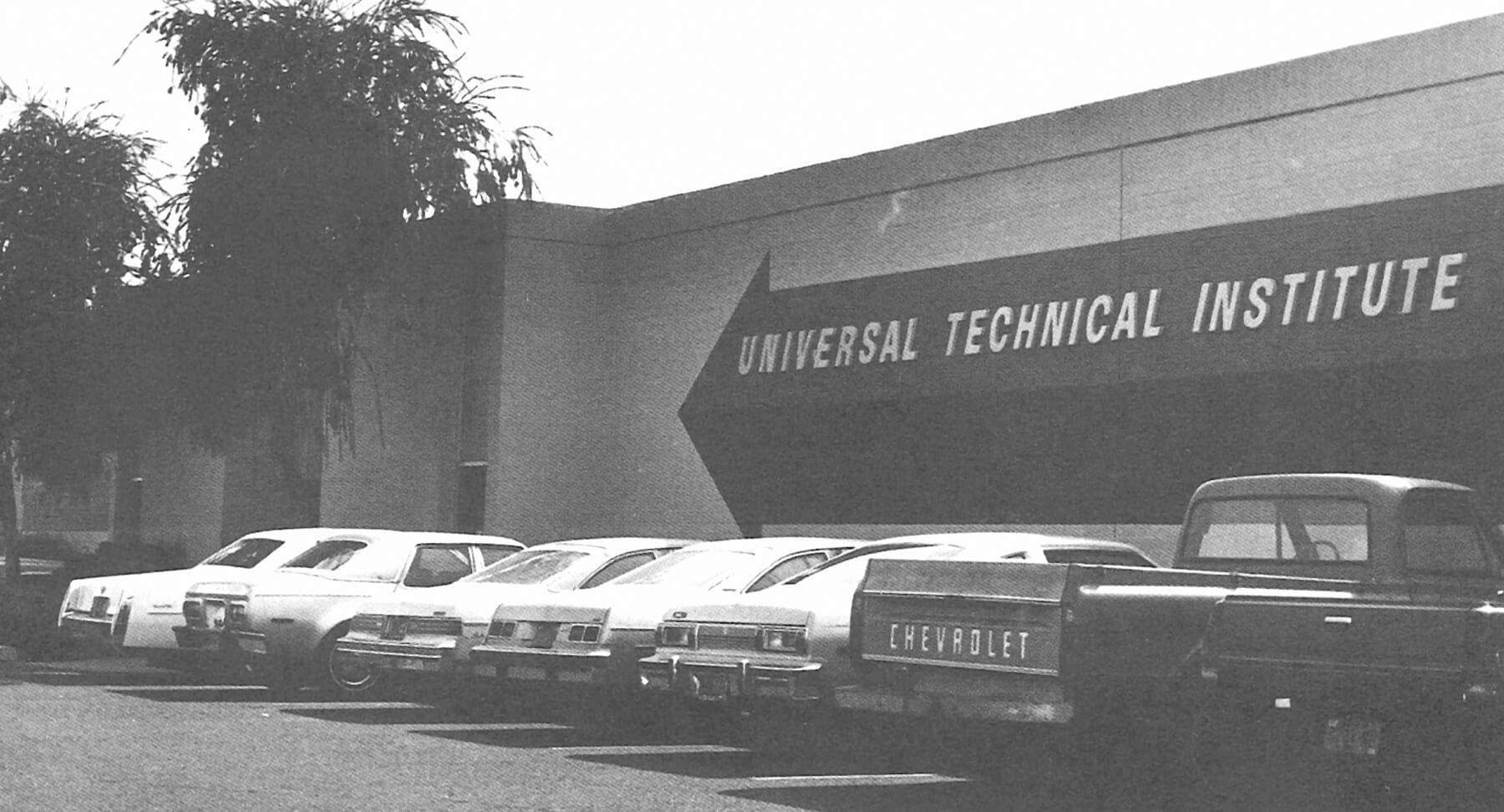 Old black and white exterior photo of the UTI Campus in Avondale Arizona