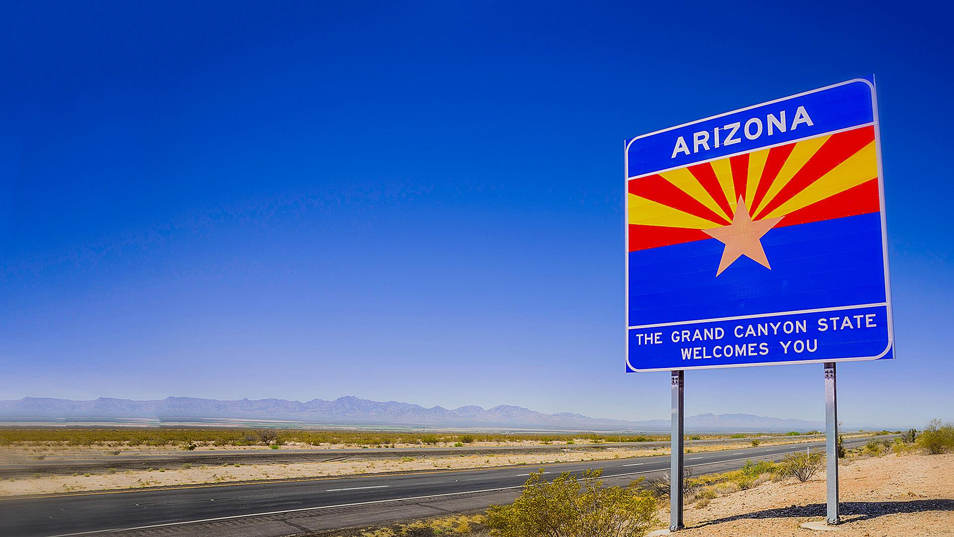 Arizona welcoming sign on the highway