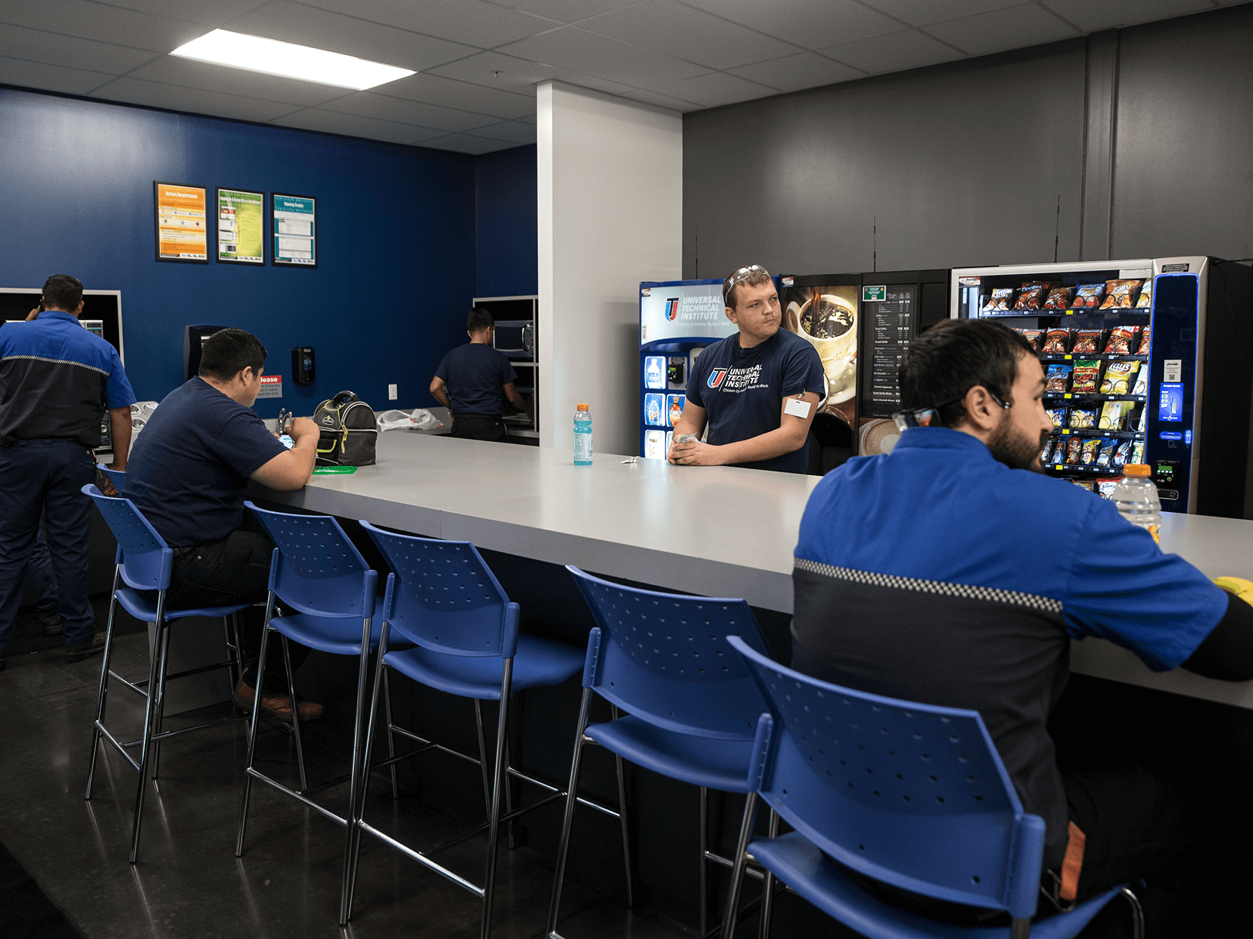 Students in the Break-Room at Long Beach campus