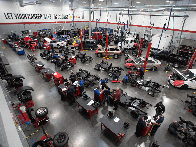 Overhead photo of the Auto lab at Long Beach campus