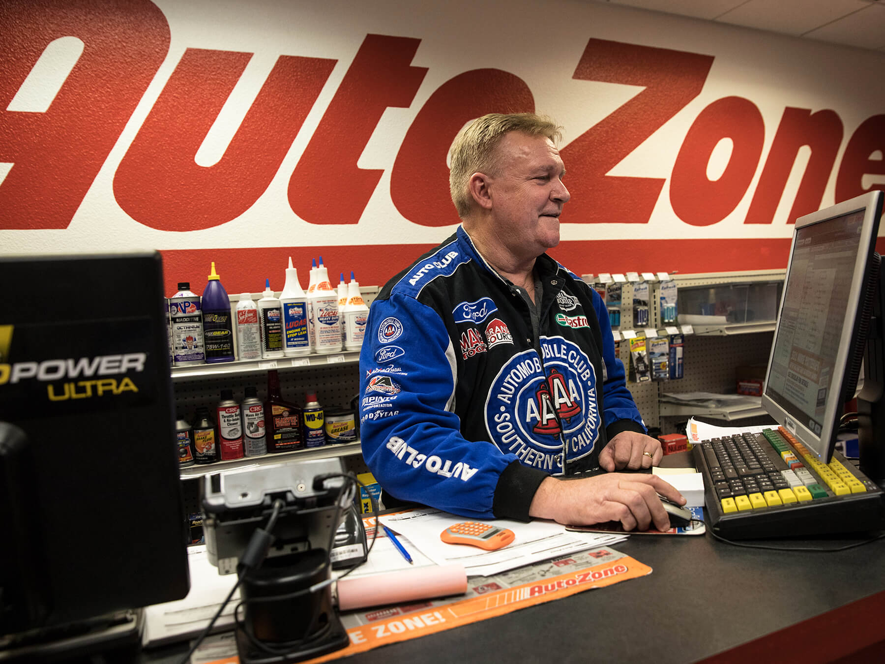 Interior photo of the AutoZone shop at Sacramento campus