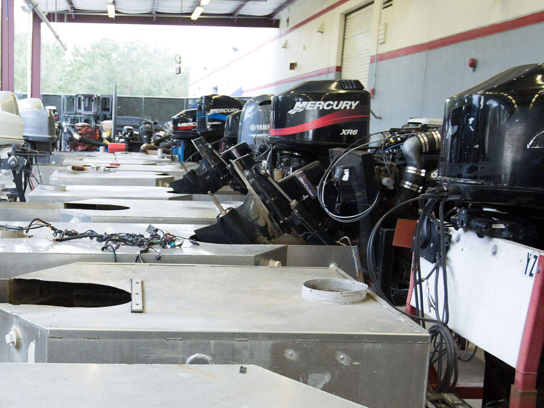 Mercury marine engines outside of the classroom