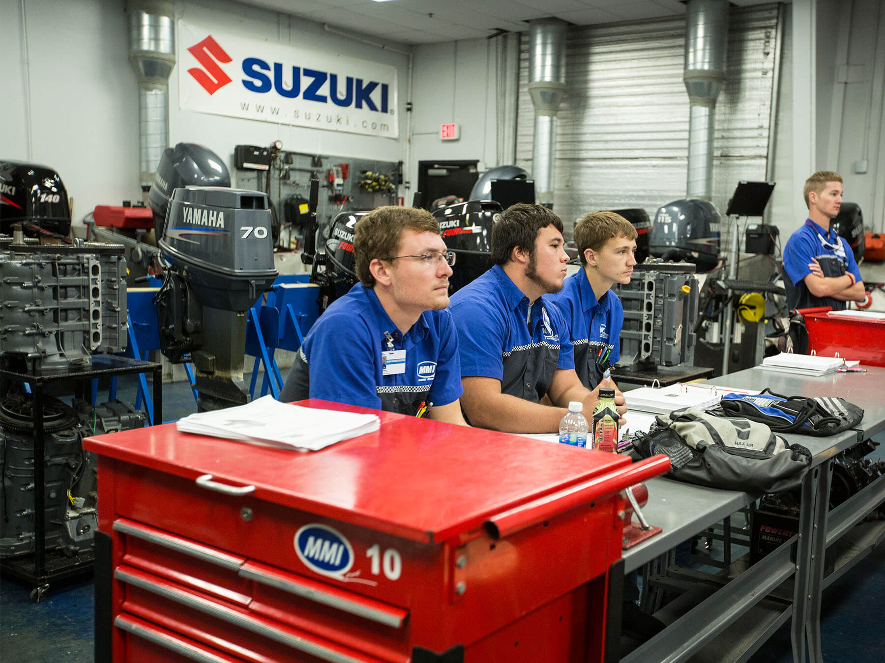 MMI students looking towards the front of the classroom in the Suzuki lab