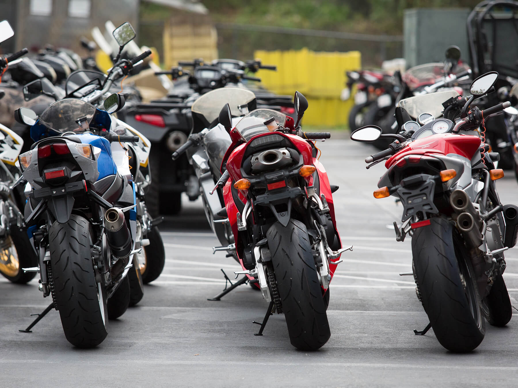 Exterior photo of motorcycles