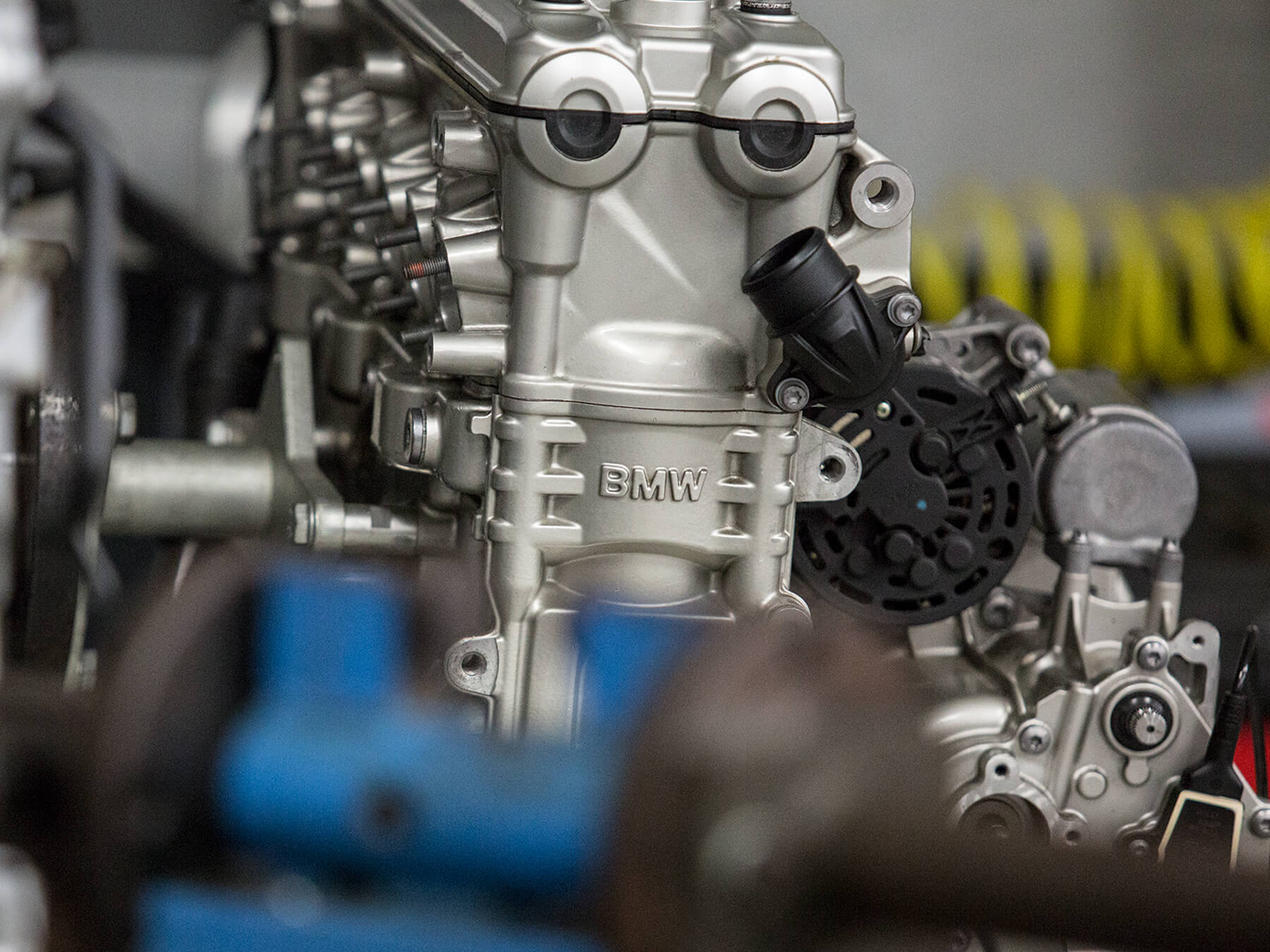 Closeup on BMW motorcycle engine