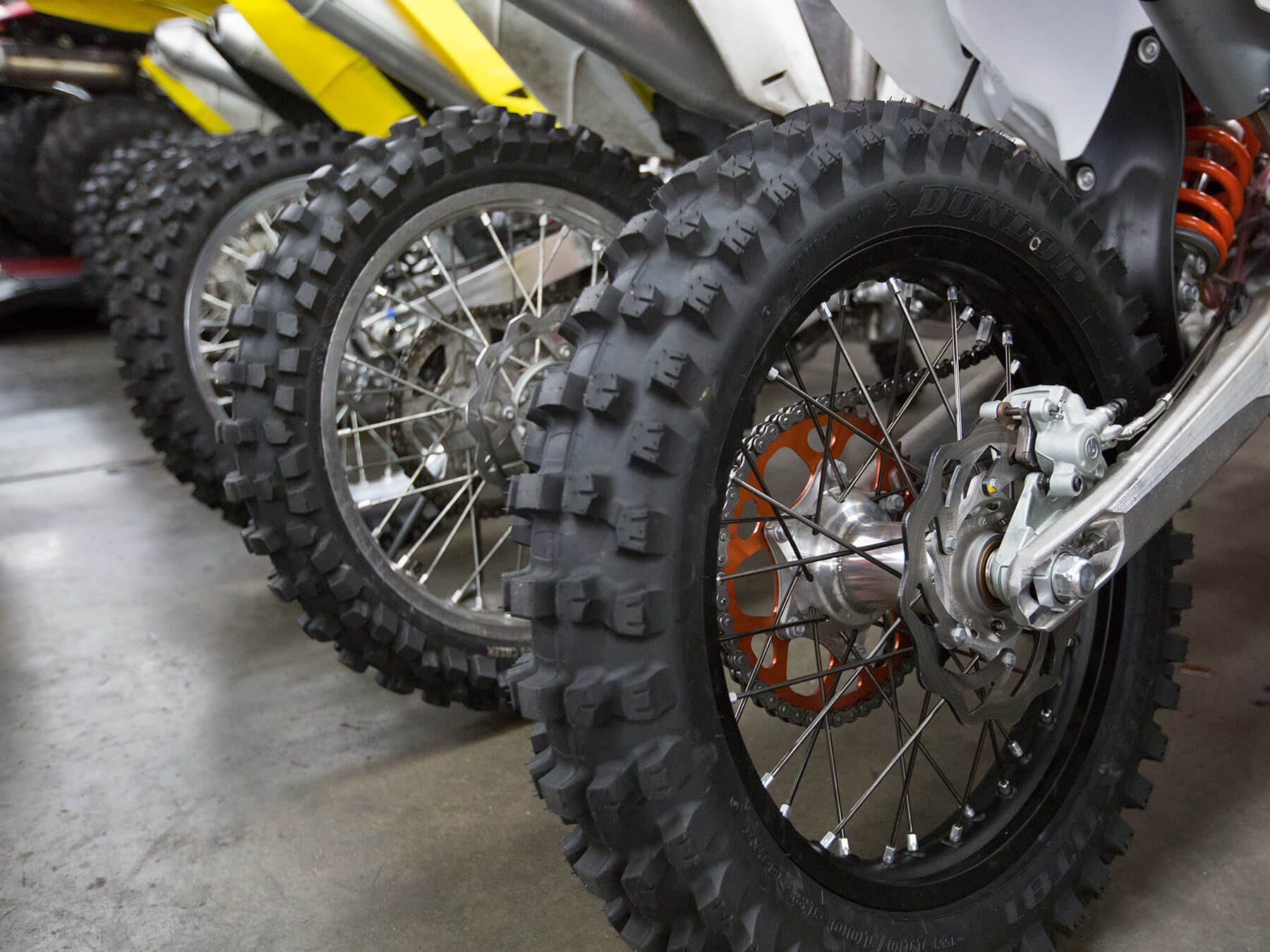 Close up on Motorcycle tires