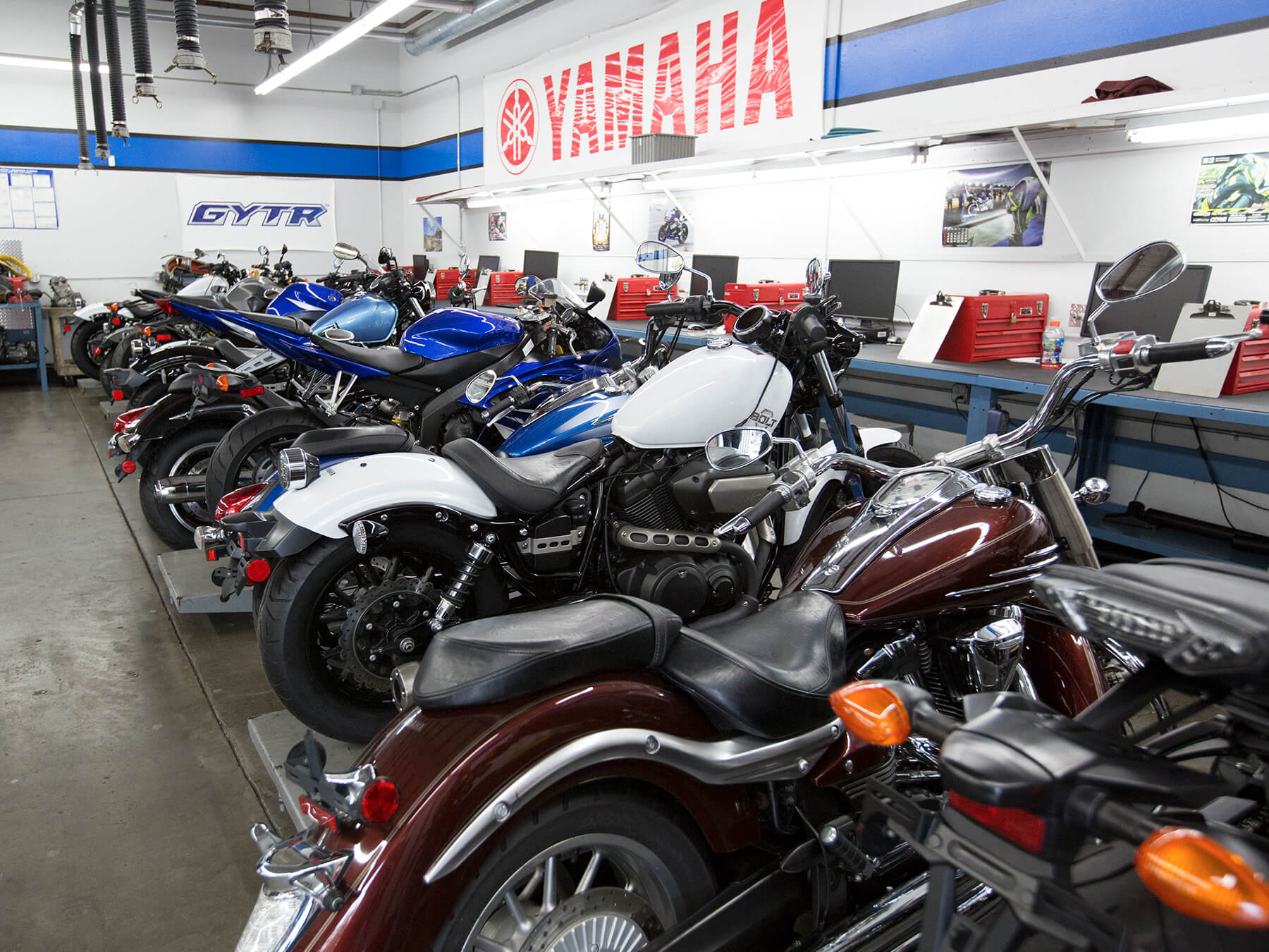 Wideshot of Yamaha motorcycles