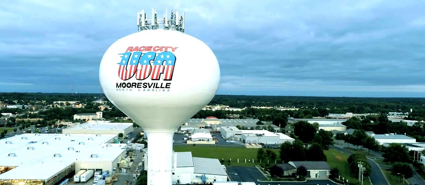 The skyline of Mooresville North Carolina which is home to NASCAR Technical Institute