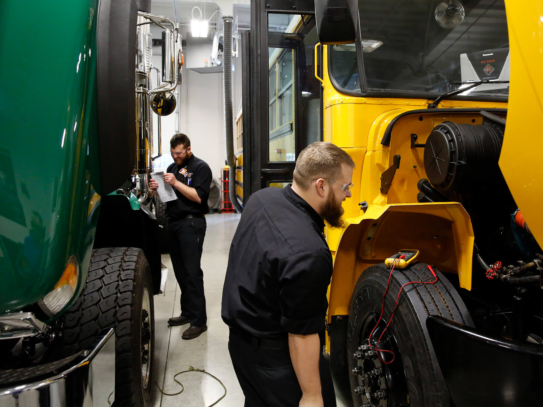 UTI student working on a diesel truck