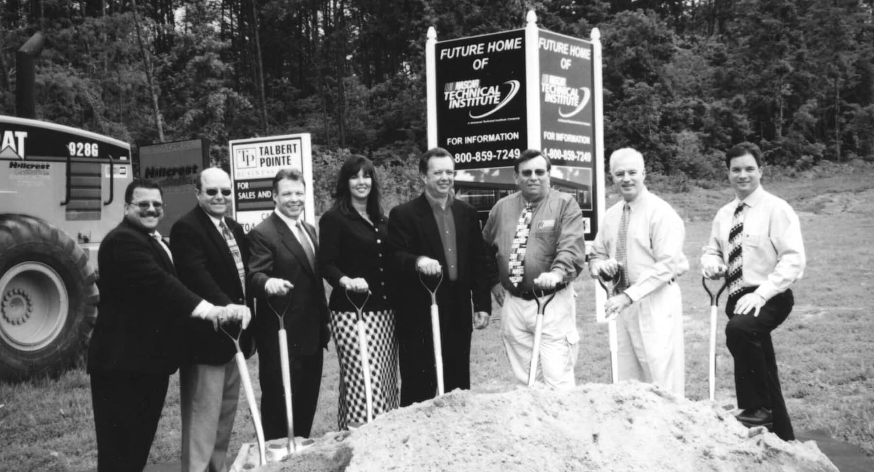Black and white photo of the founders of the Nascar Technical Institute in Mooresville North Carolina