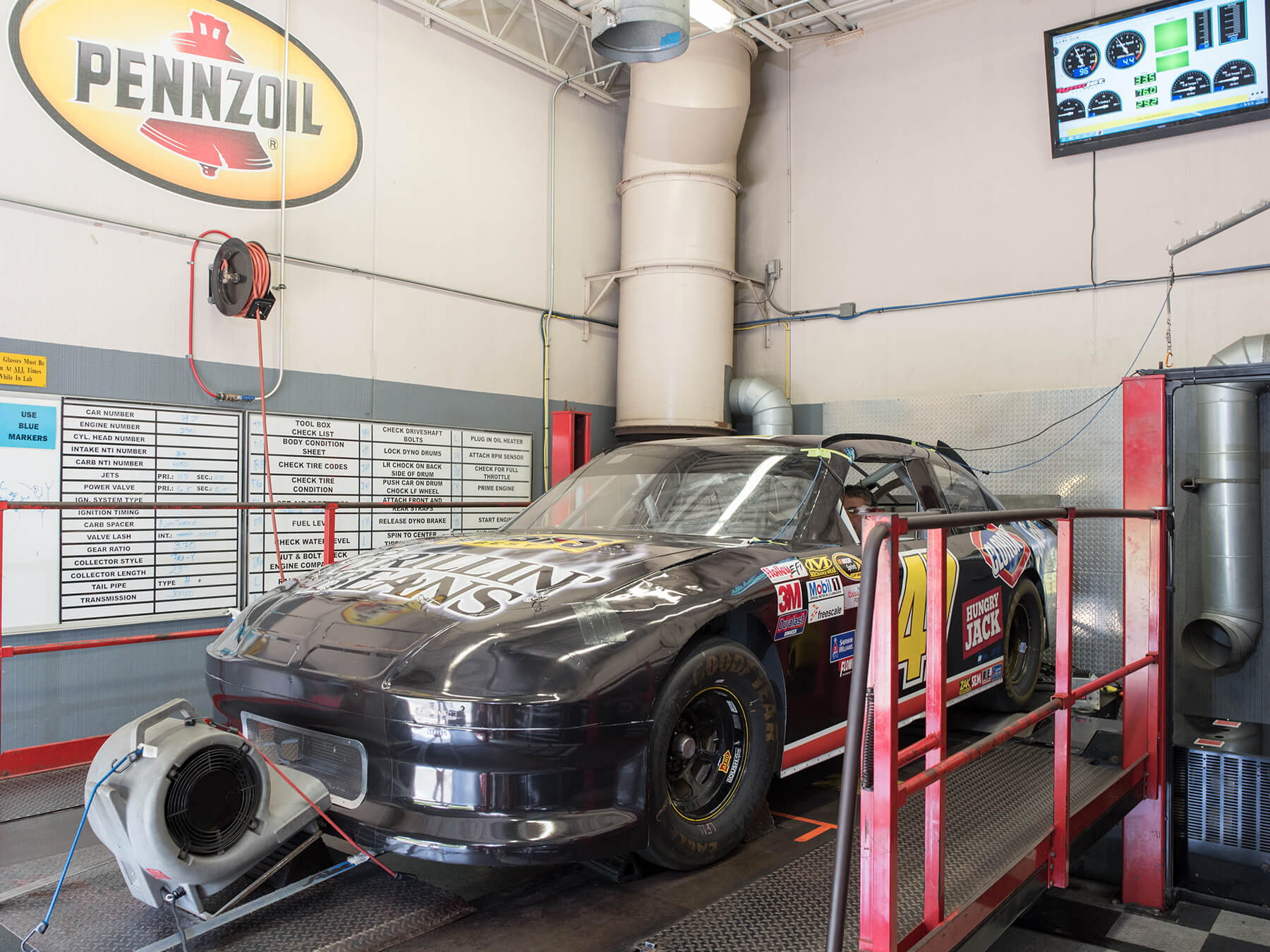 Photo of a black car in the DYNO lab at Mooresville campus