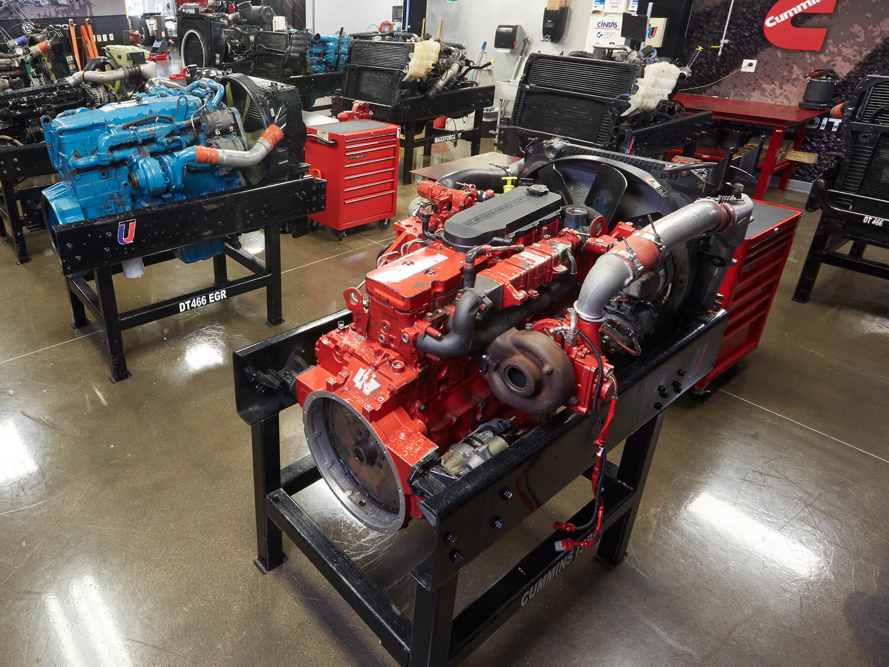 Wideshot of Cummins diesel engines at the Dallas campus
