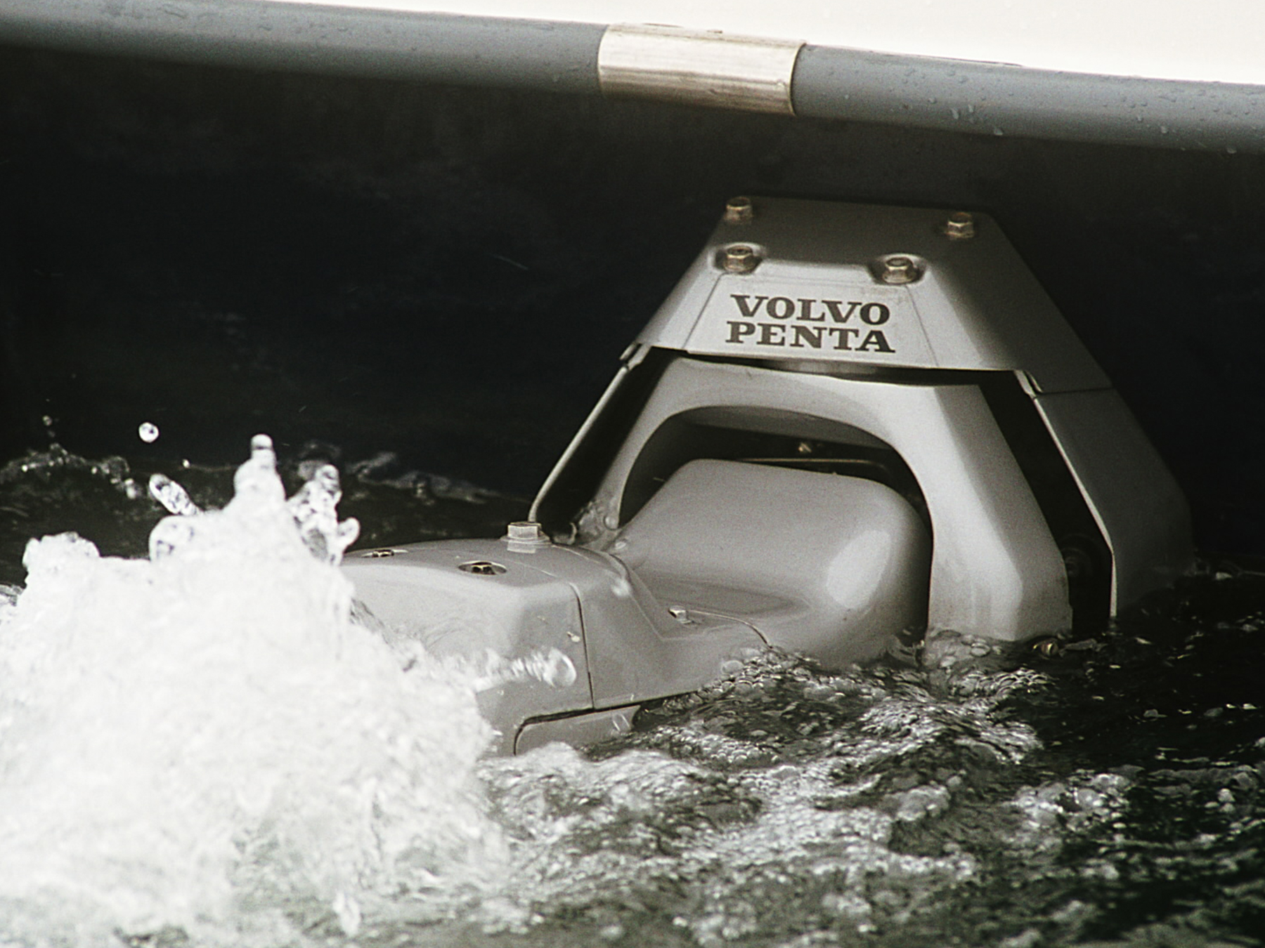 Action shot of Volvo Penta engine in the water