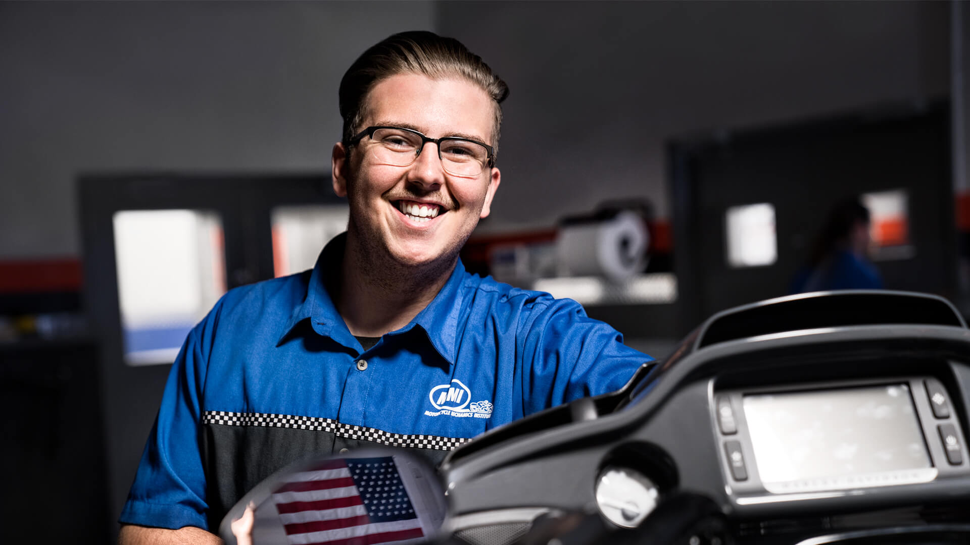 Motorcycle technician in training