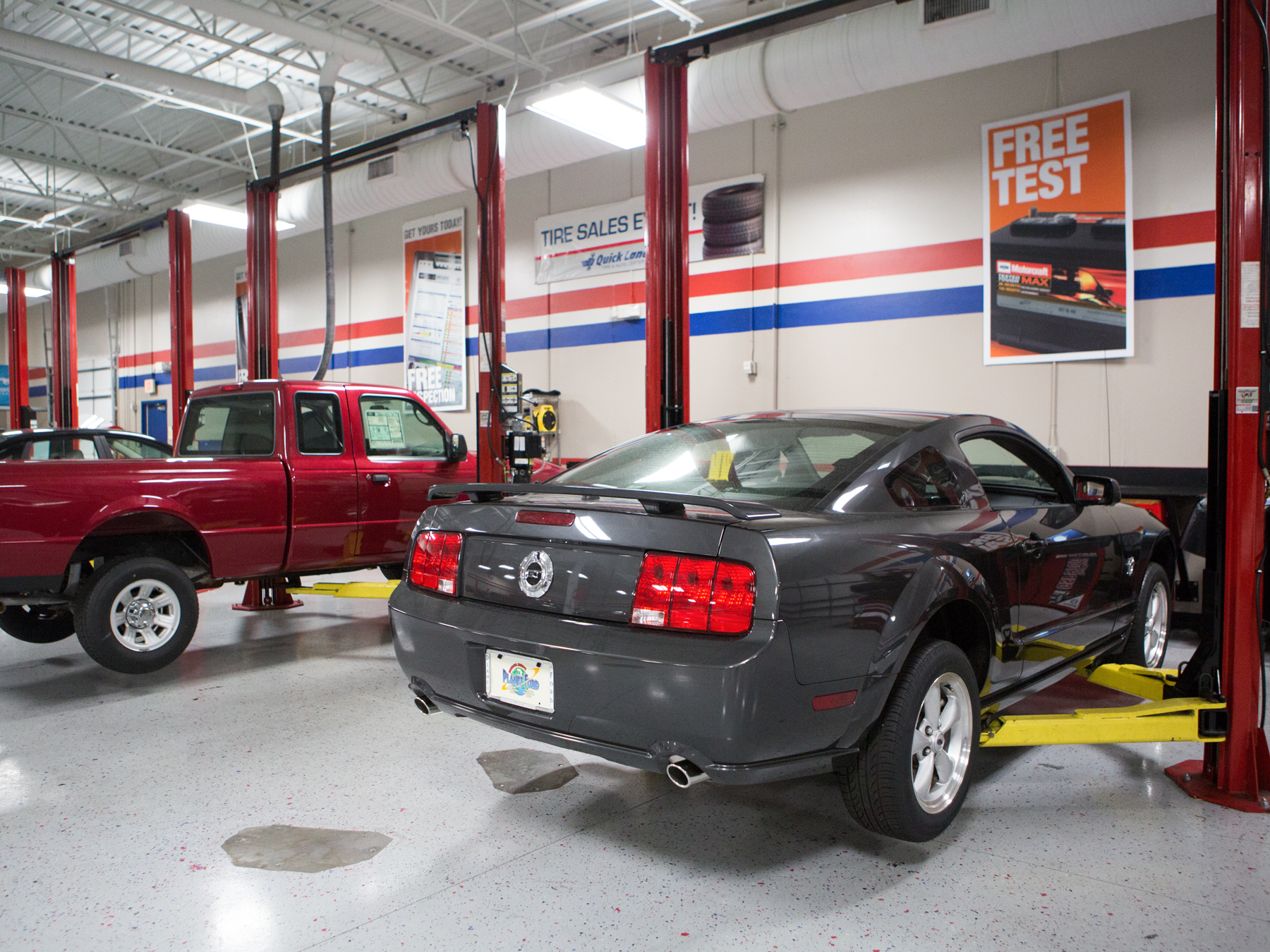 Cars on lifts in the ford auto lab