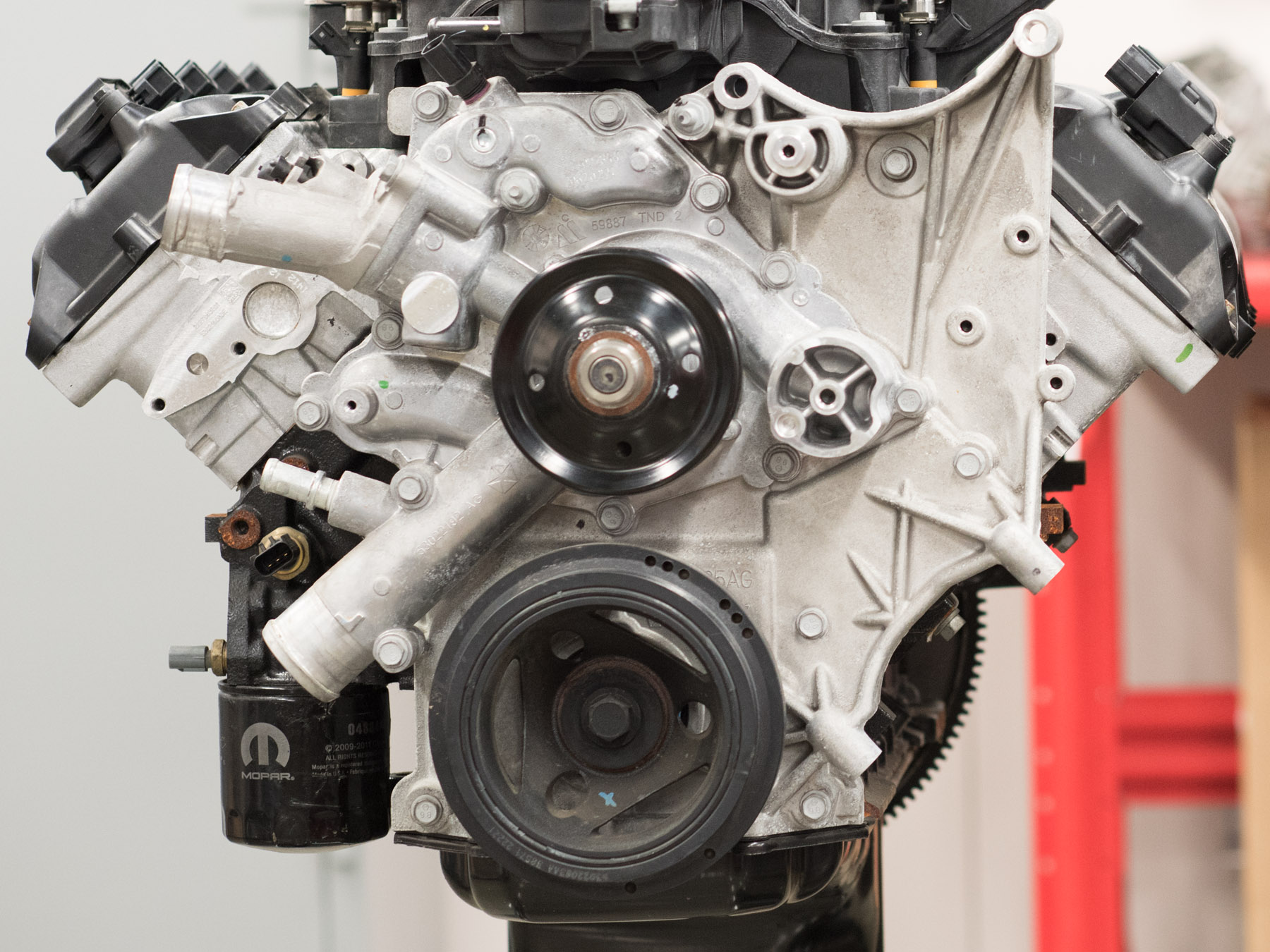 Close up on an engine