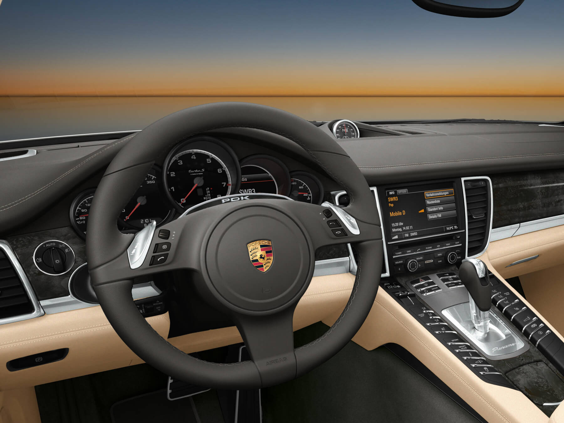 Black and tan Porsche Interior