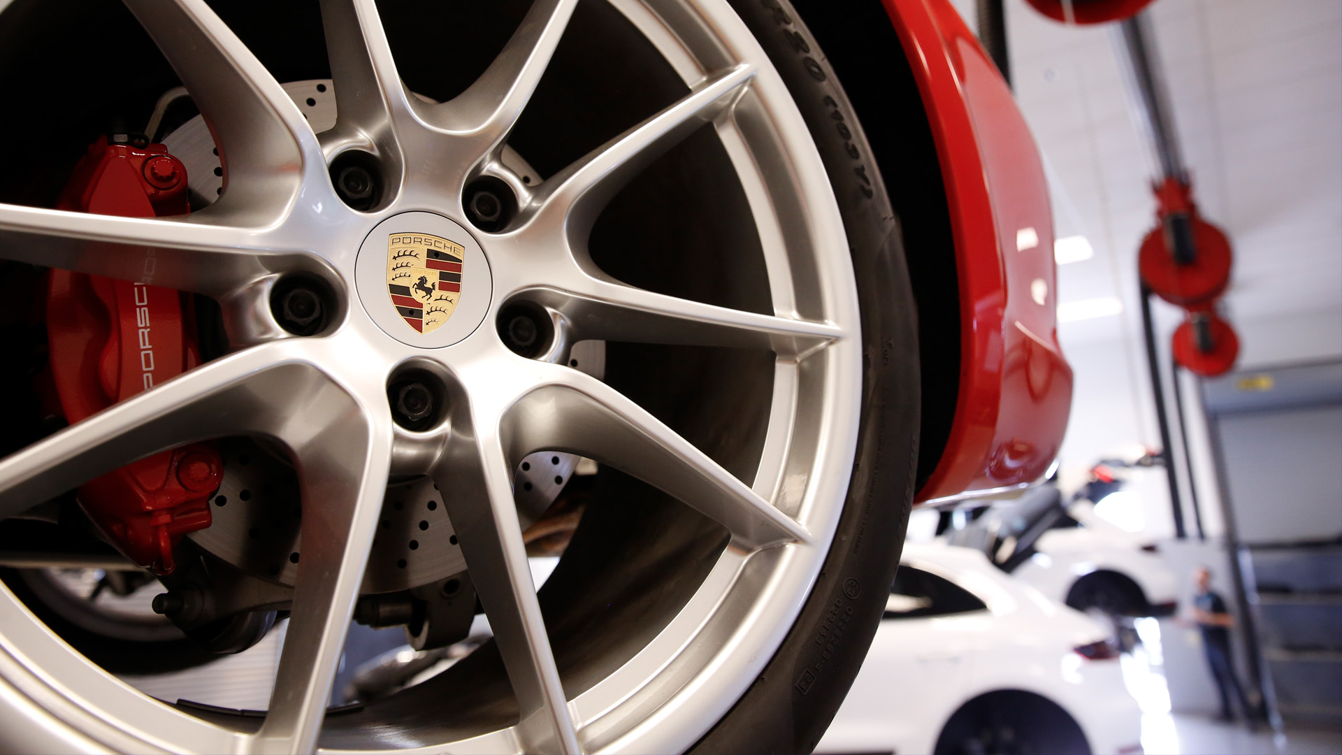 Closeup on a Porsche wheel