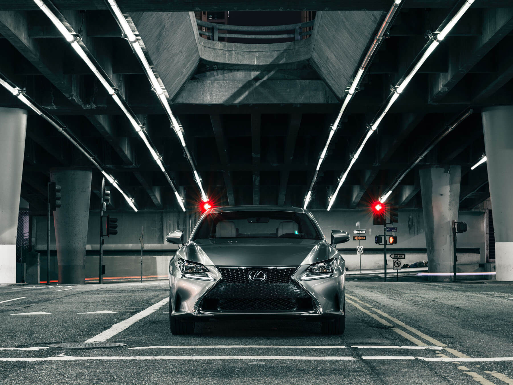 Dark grey Lexus Rc 350 on the city street